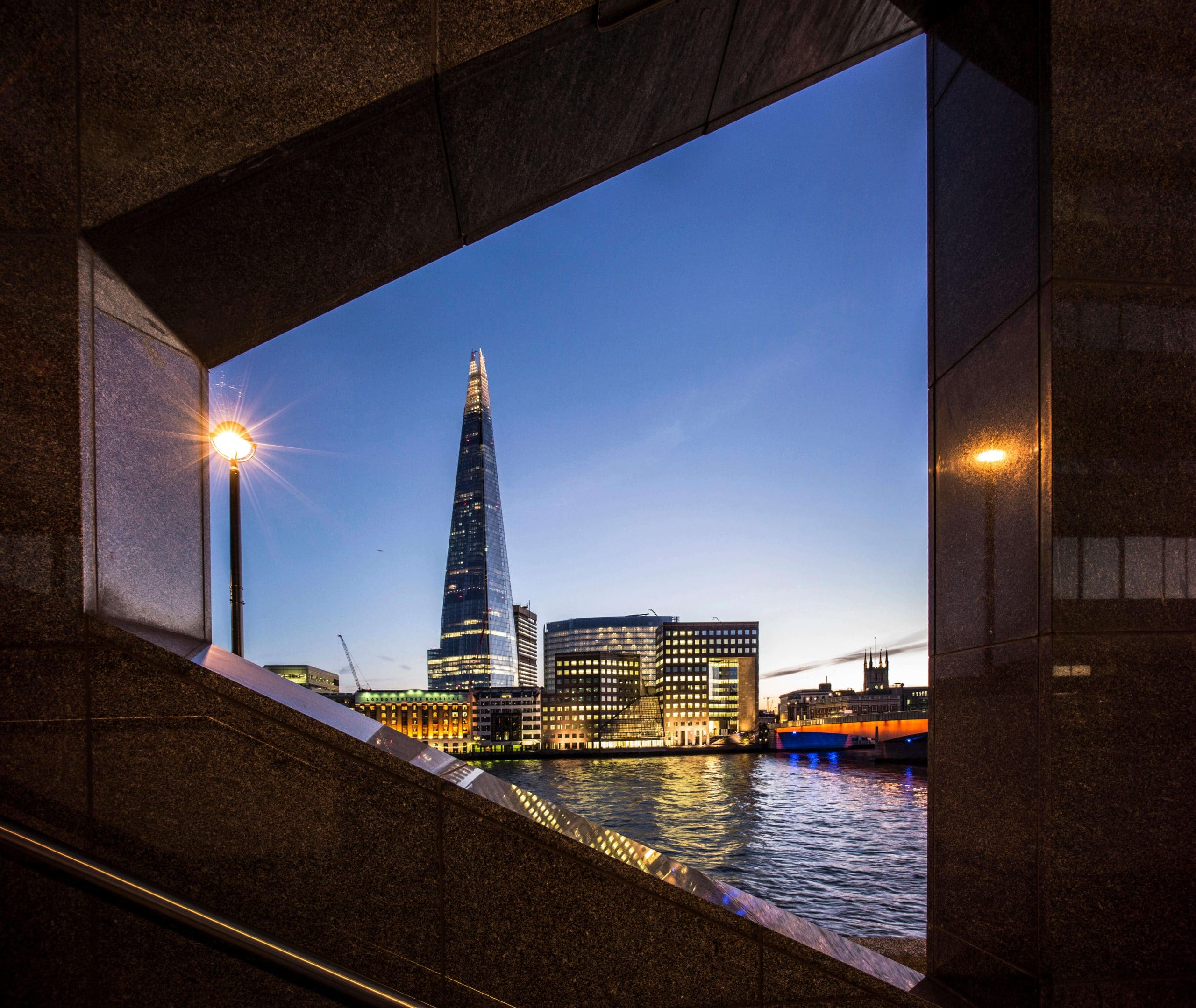 The Shard with Southwark Cathedral and London Bridge.