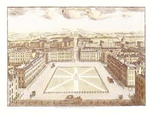 An illustration of Hanover Square in the 18th Century
